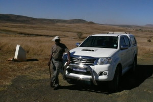 With the Zimbabwean colonel at Isandlwana. For once the client supplied the transport..!